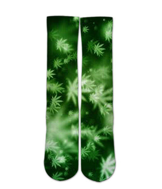 Weed Pattern Printed crew Socks - Dope Sox Official
