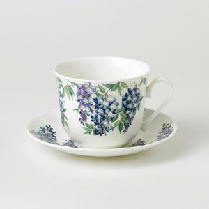 Fine Bone China Large Breakfast Cup and Saucers Floral