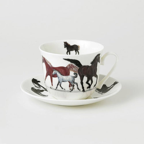 Horses - Bone China Large Breakfast Cup and Saucers