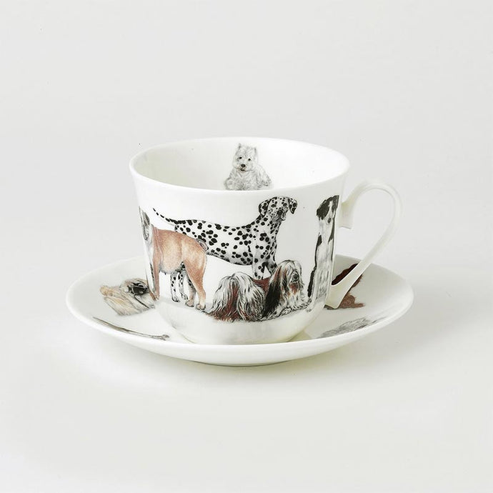 Dogs Galore Fine Bone China Large Breakfast Cup and Saucers