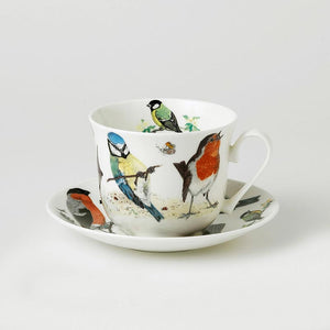 Garden Birds Fine Bone China Large Breakfast Cup and Saucers