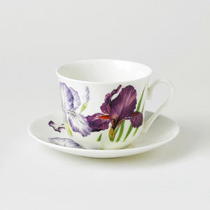 Iris Fine Bone China Large Breakfast Cup and Saucers
