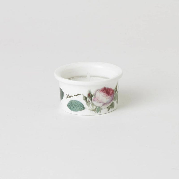 Redouté Rose Fine Bone China Tealight with Candle