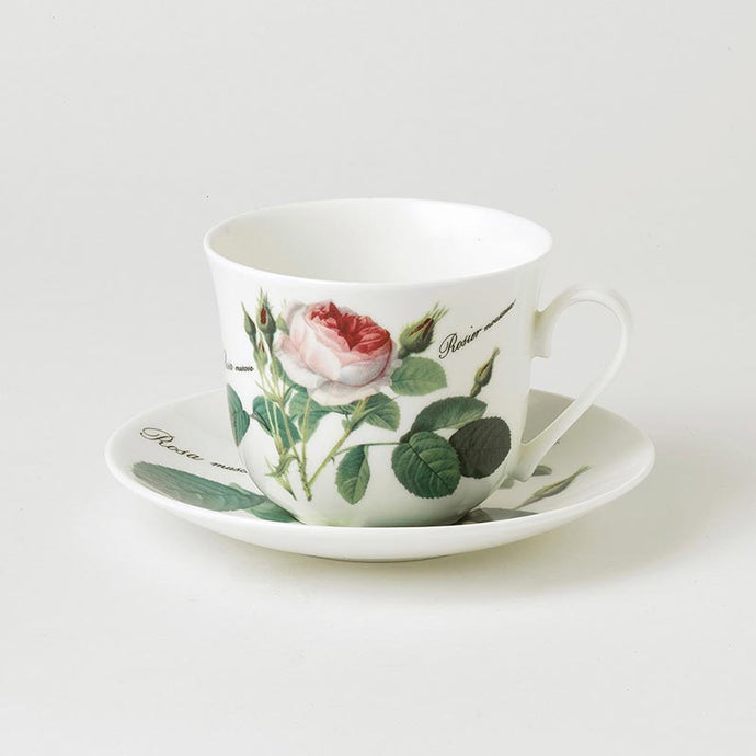 Redouté Rose Fine Bone China Large Breakfast Cup and Saucer