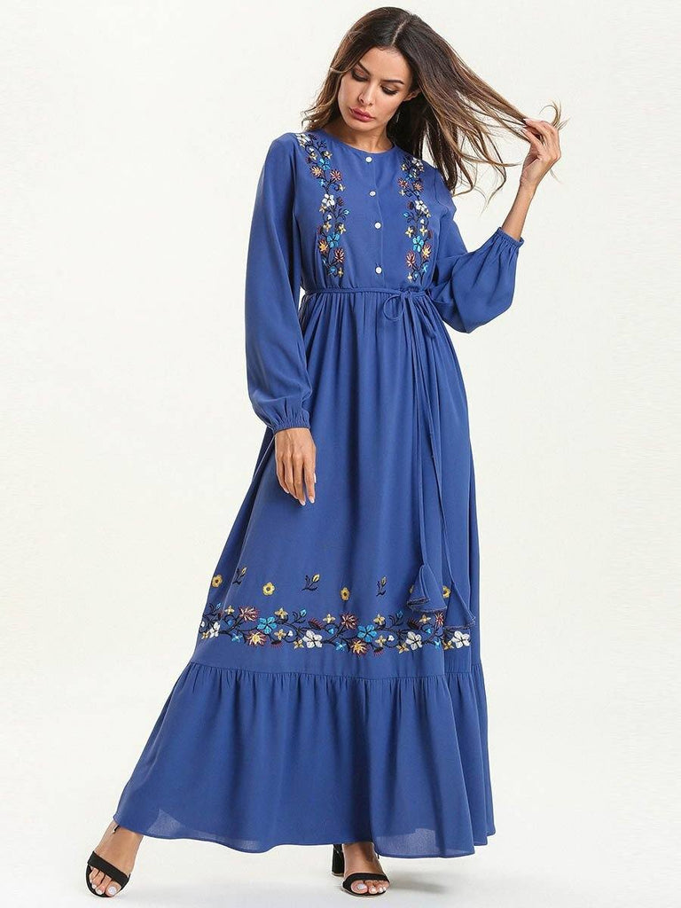 Long Dress with embroidered flounces for women's wear