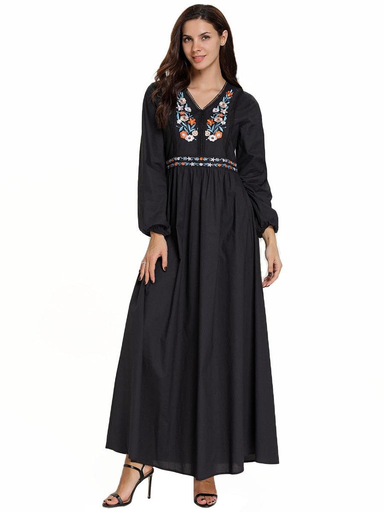 Long Sleeve Embroidered Floral Maxi Dress