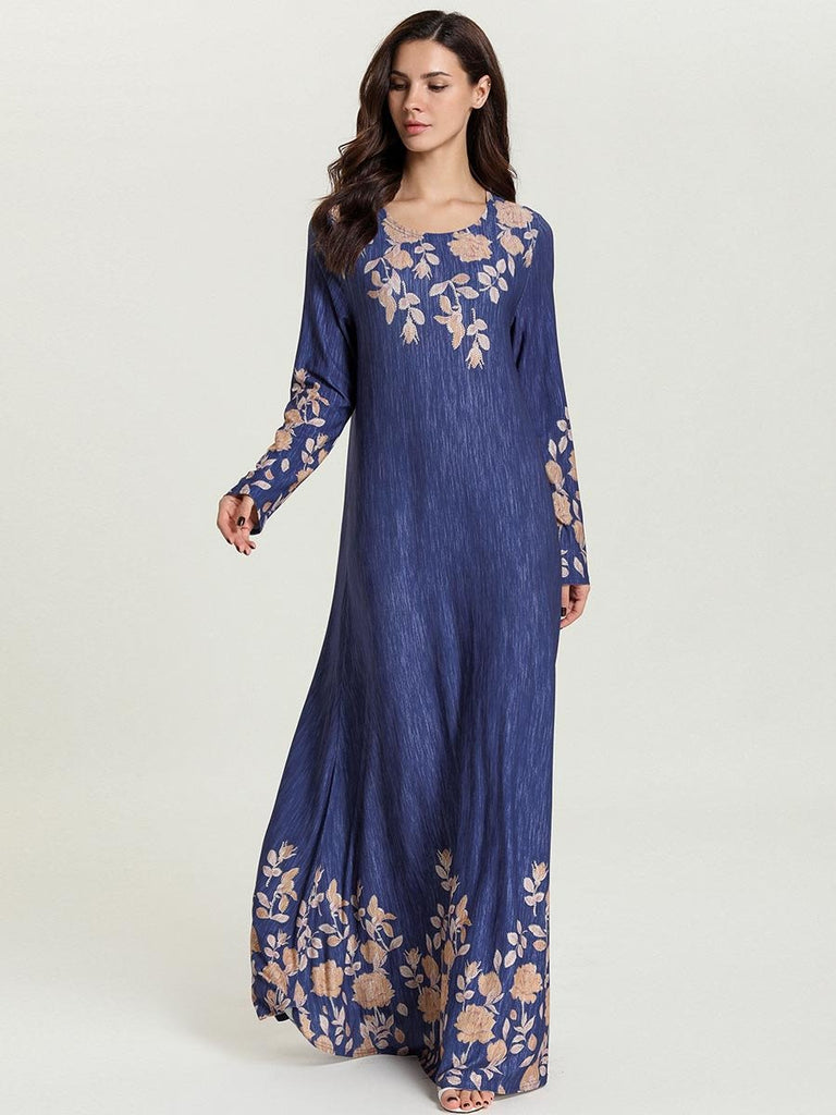 Long, Thin Muslim Dress With Printed Sleeves Women Dress