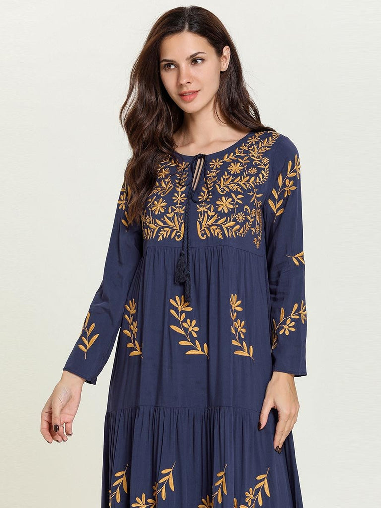 Dark blue embroidered Muslim casual maxi dress