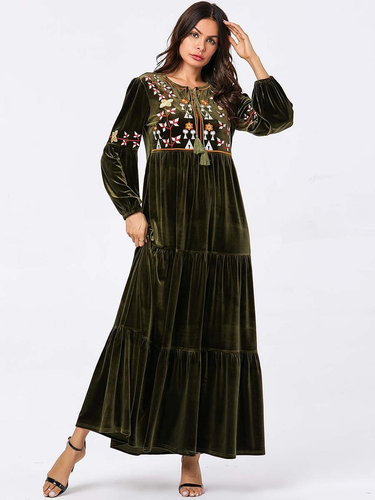 Abaya Embroidery Woose Waist  Dress