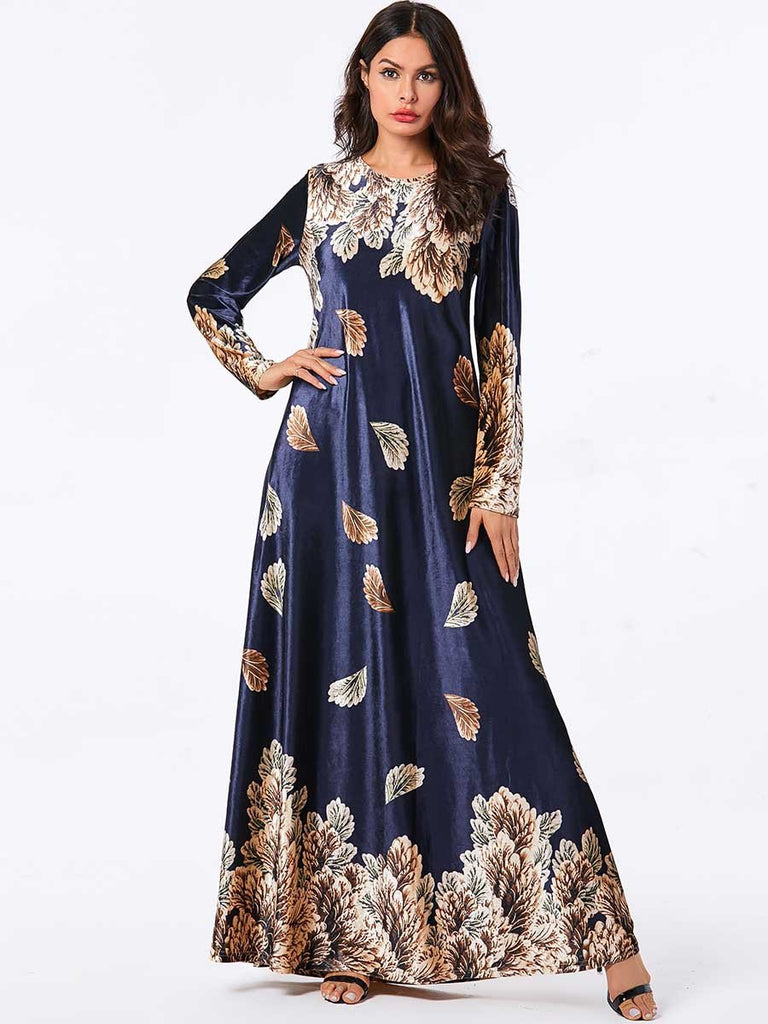 Bronzing plant print long-sleeved Muslim casual gold velvet dress