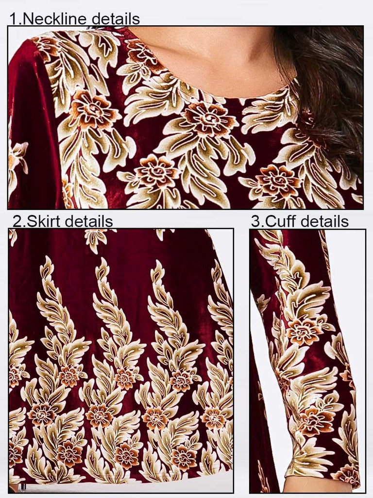 Wine red bronzing plant print long-sleeved Muslim casual gold velvet dress