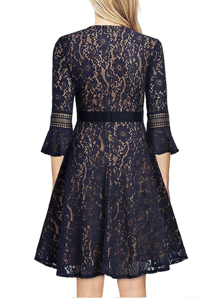 5 Colors Lace slouchy Round  Neck Midi Dress