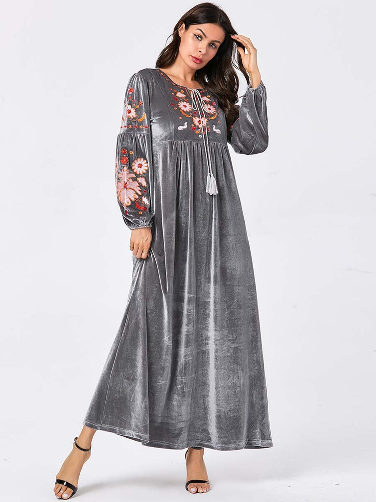 New Muslim gray Velvet fashion floral embroidery O-neck Dress