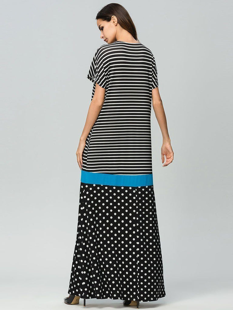 striped round neck stitching polka dot short sleeve cotton long dress