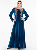Kaftan gold velvet dress fashion Muslim style dress
