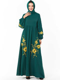 Muslim new dress fashion embroidered green dress