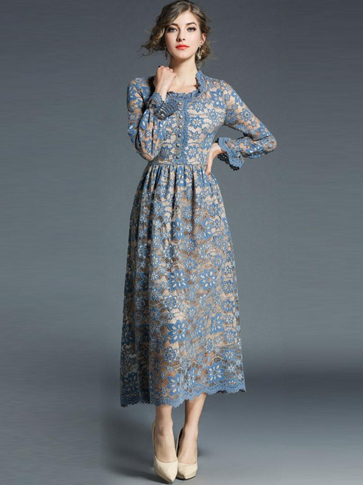 Light Blue elegant temperament lace round neck hollow long sleeve A-line dress