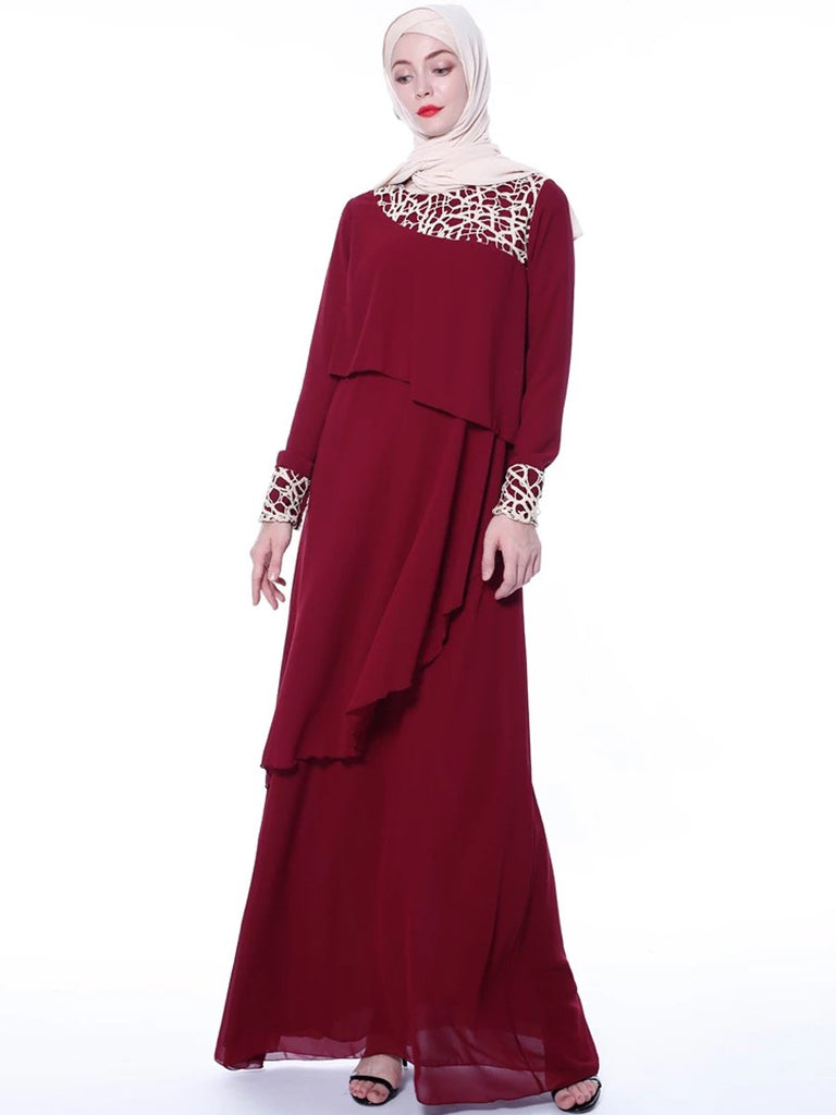 High-end chiffon long skirt lace stitching elegant dress