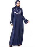 New ice silk fabric Muslim style abaya dress