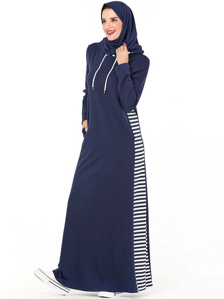 Fashion hooded pocket Arab dress muslim dress