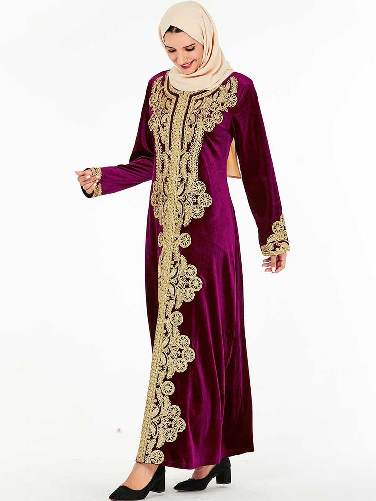 Red - high quality gold velvet embroidered long skirt muslim style dress