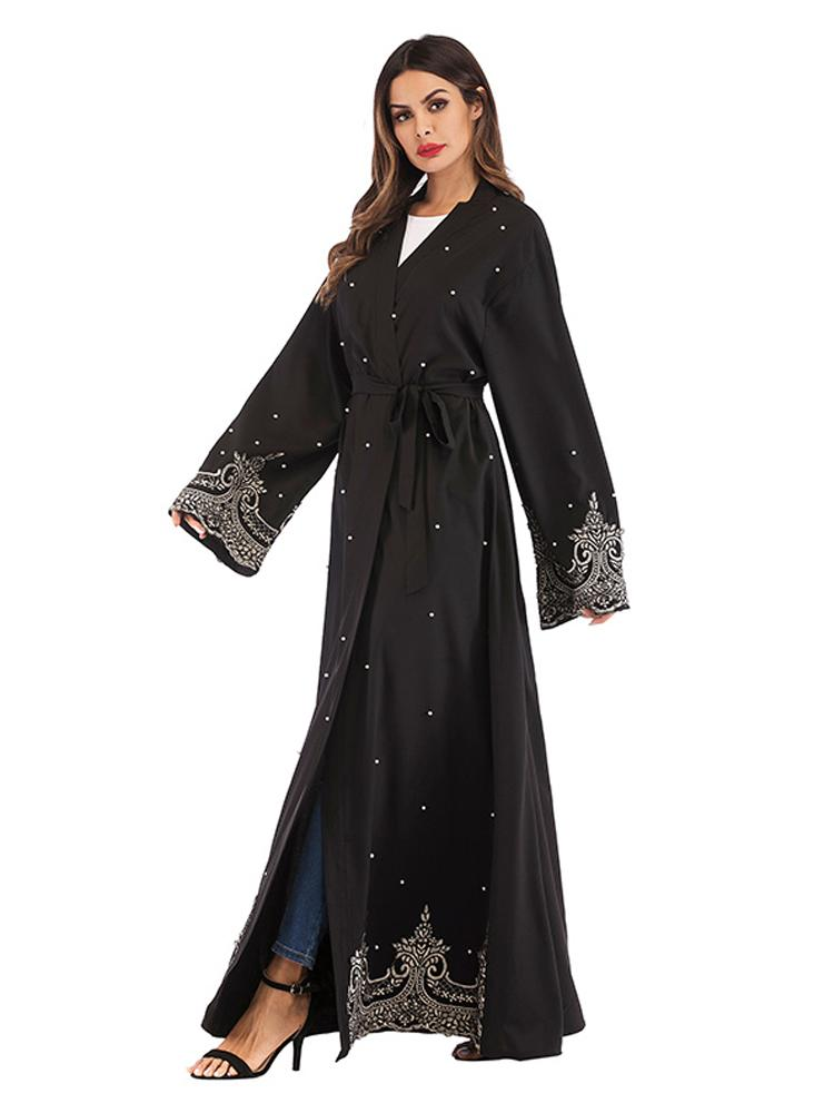 Abaya Dubai Browns Open Front  Islamic Flower Applique Details Muslim Abaya