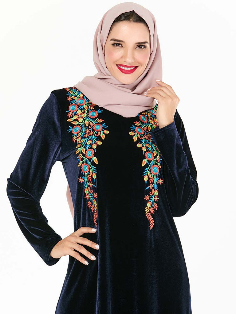 Black Kaftan gold velvet dress fashion Muslim style dress