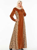 Muslim style dress gold velvet fabric fashion dress