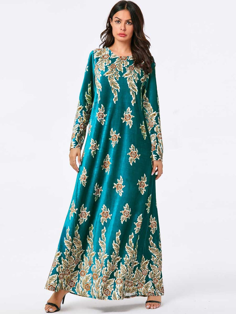 New gold velvet dress muslim style dress