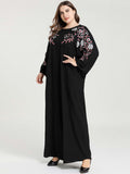 Large size black embroidery casual dress