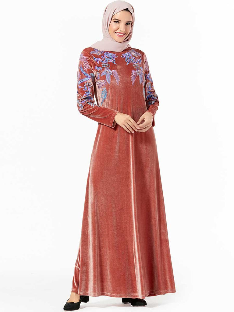 Fashion dignified large size Arabian women's pink plant embroidery casual gold velvet dress