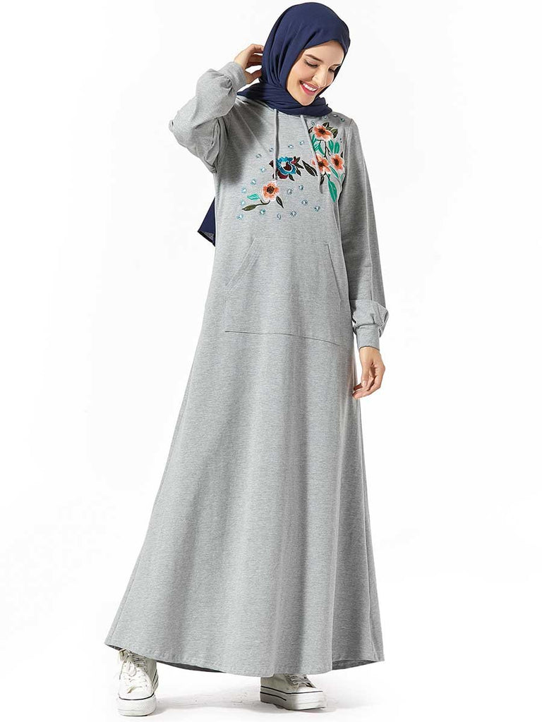 Comfortable Sweater Hooded Pocket Plant Embroidered Arabian Dress