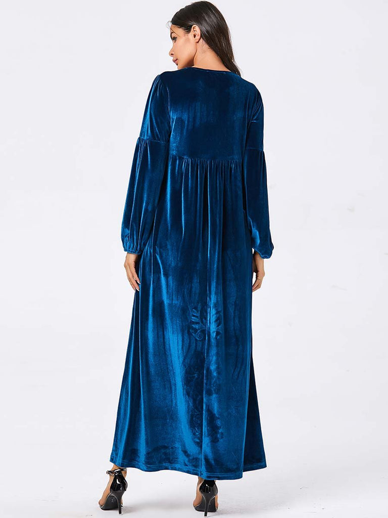 New Muslim blue Velvet fashion floral embroidery long dresses