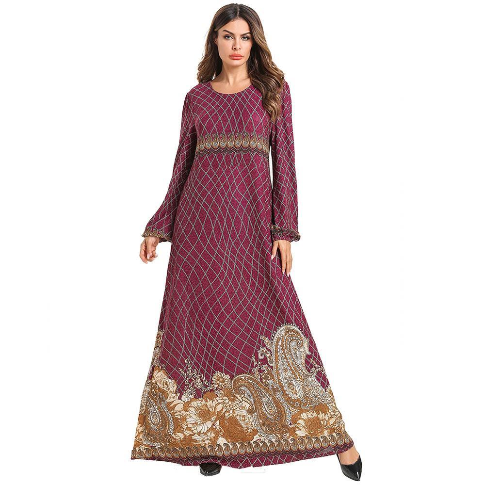 Round neck Bell sleeve grid burgundy floral cotton long dress
