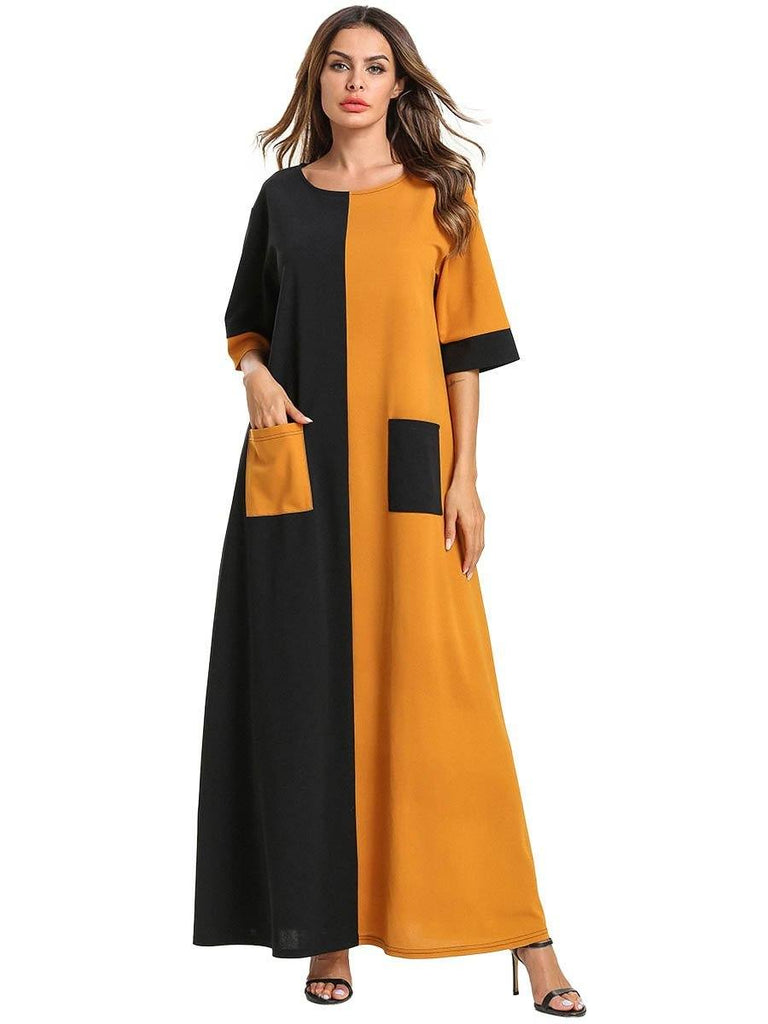 round neck with pocket stitching black yellow half sleeve cotton long dress