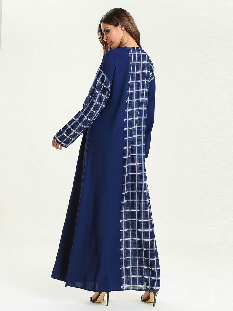 Grid navy with pocket round neck long sleeve polyester long dress