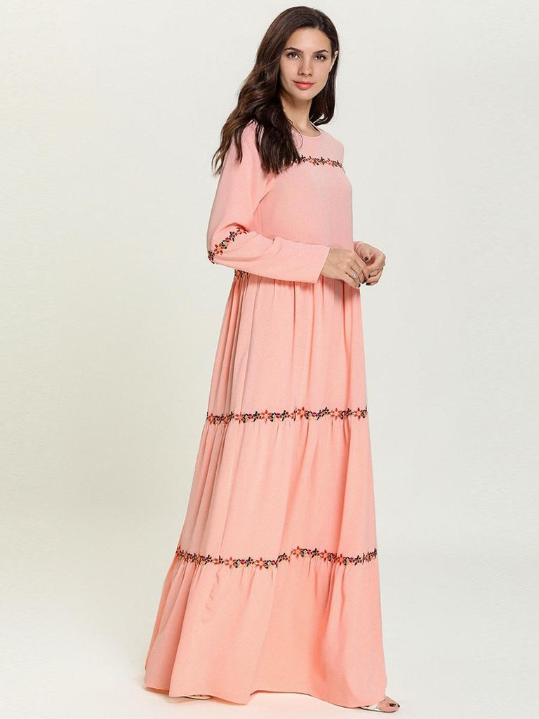 Pink Knit Printed Long Sleeve Plus Size Ethnic Dress