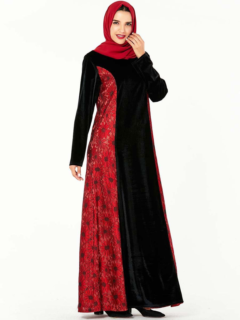 Muslim style dress gold velvet fashion dress