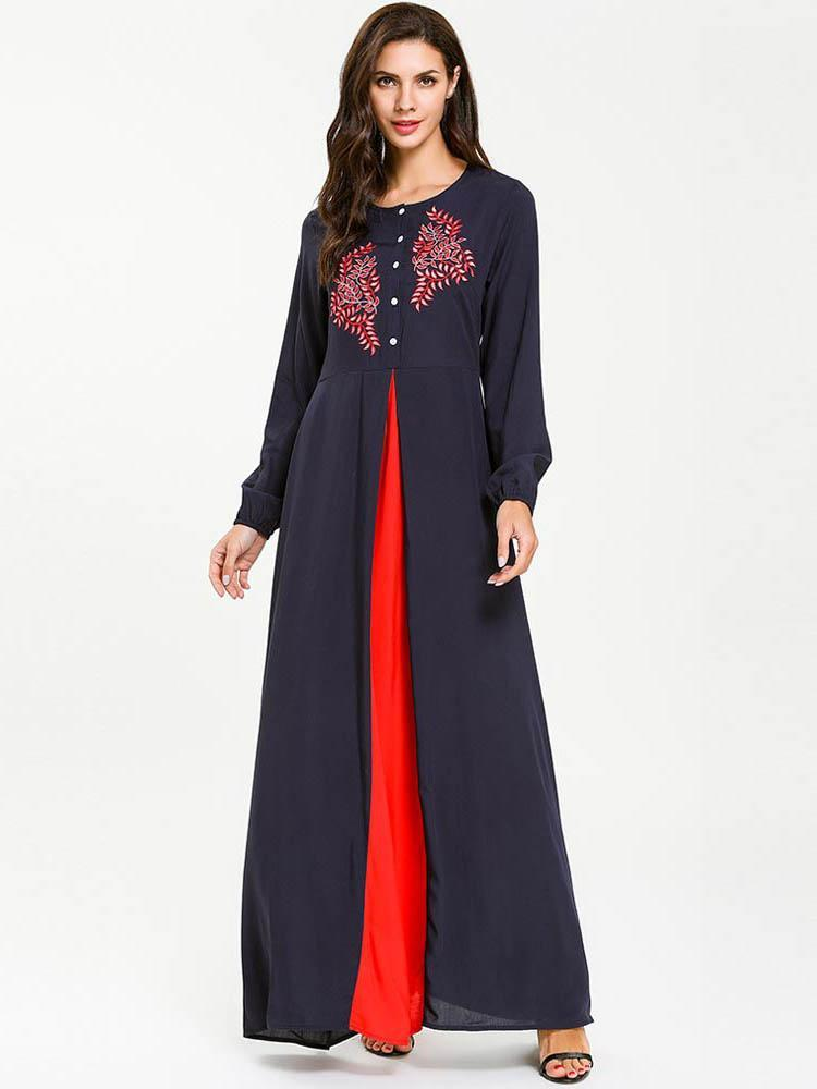 Single-breasted splicing maxi dress with embroidered front_1557822420.jpg