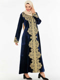 Blue - high quality gold velvet embroidered long skirt Arabian style dress