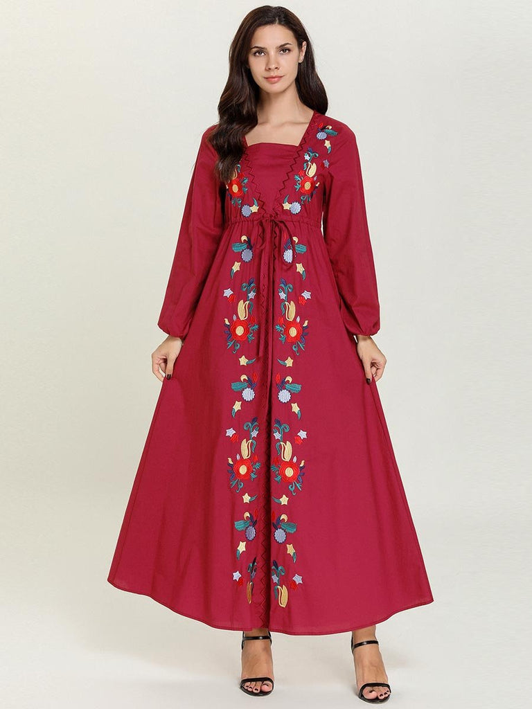 Rose red embroidered lace-up puff sleeve Muslim maxi dress