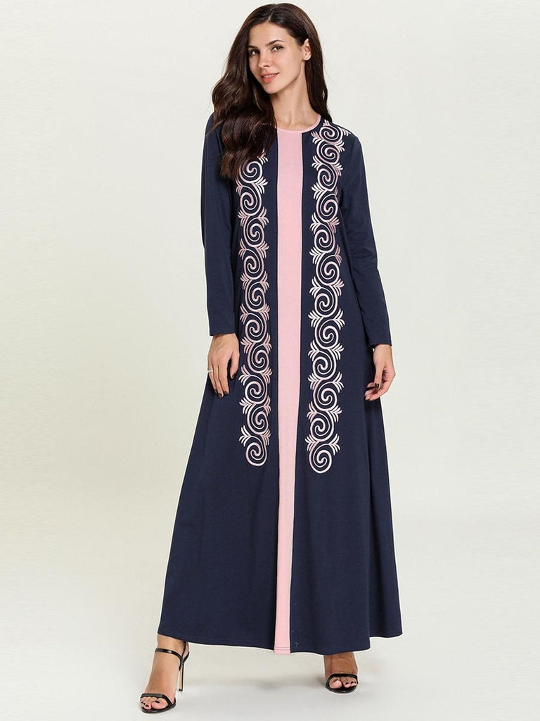 Dark blue round neck embroidered long-sleeved Muslim casual maxi dress