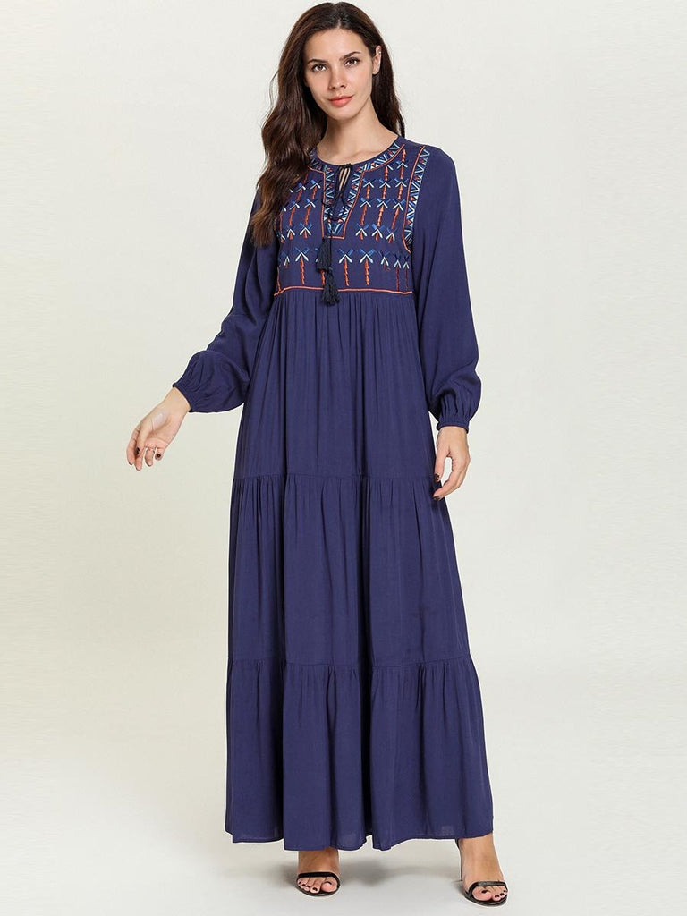 Long Sleeve Embroidered Ethnic Maxi Dress
