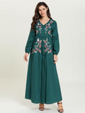 Green ethnic style v-neck embroidered casual maxi dress