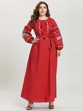 Red Embroidered Tie Round Neck Long Sleeve Arabian maxi dress