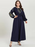 Comfortable Arabian Dark Blue Embroidered Belt Maxi Dress