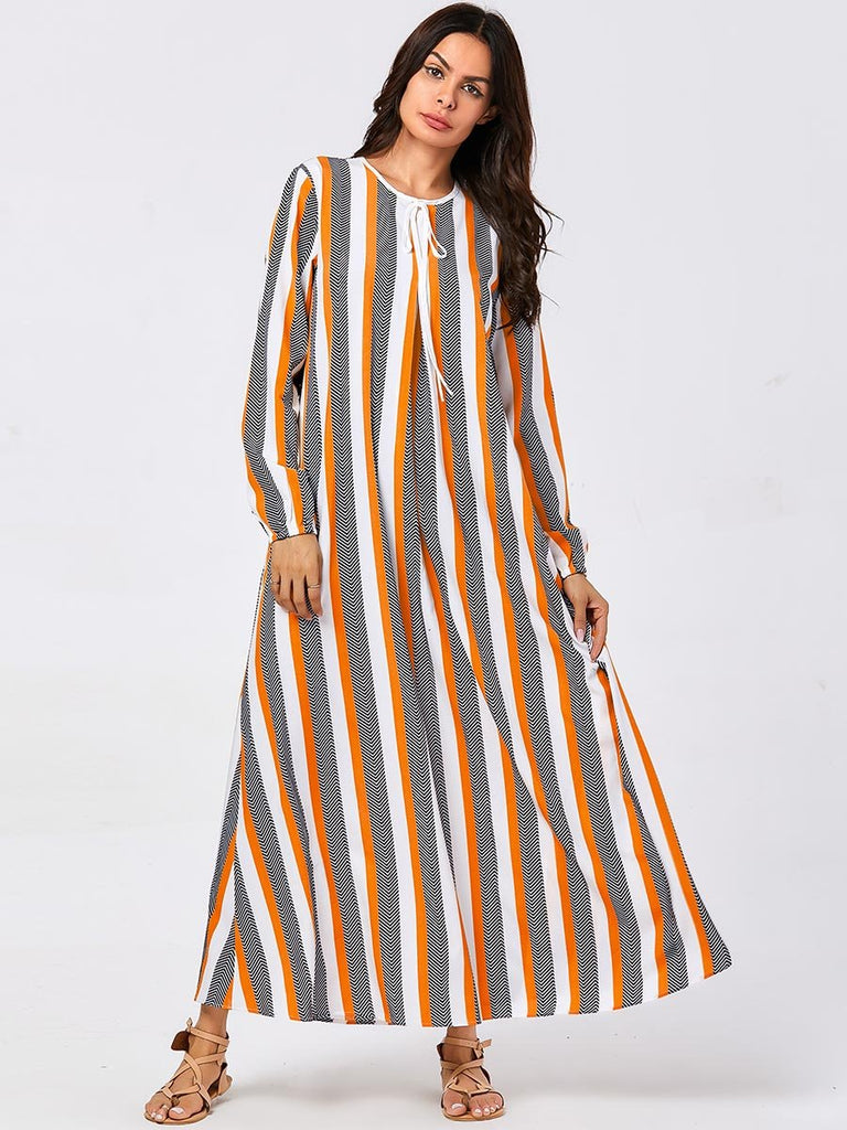 Colorblock striped printed Muslim maxi dress