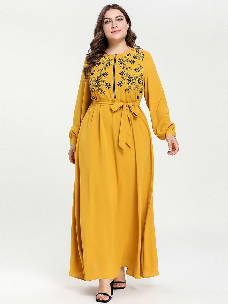Print with a belt and long casual dress_1554186084.jpg