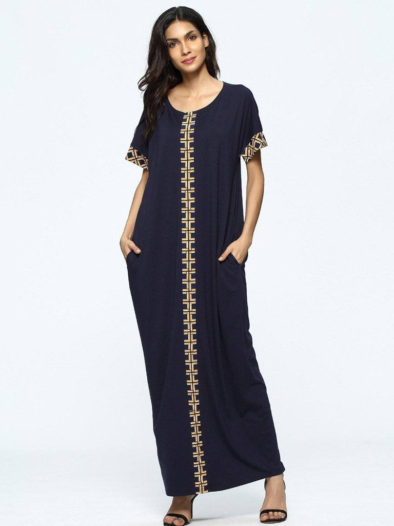 dark blue short sleeve with printed round neck cotton long dress