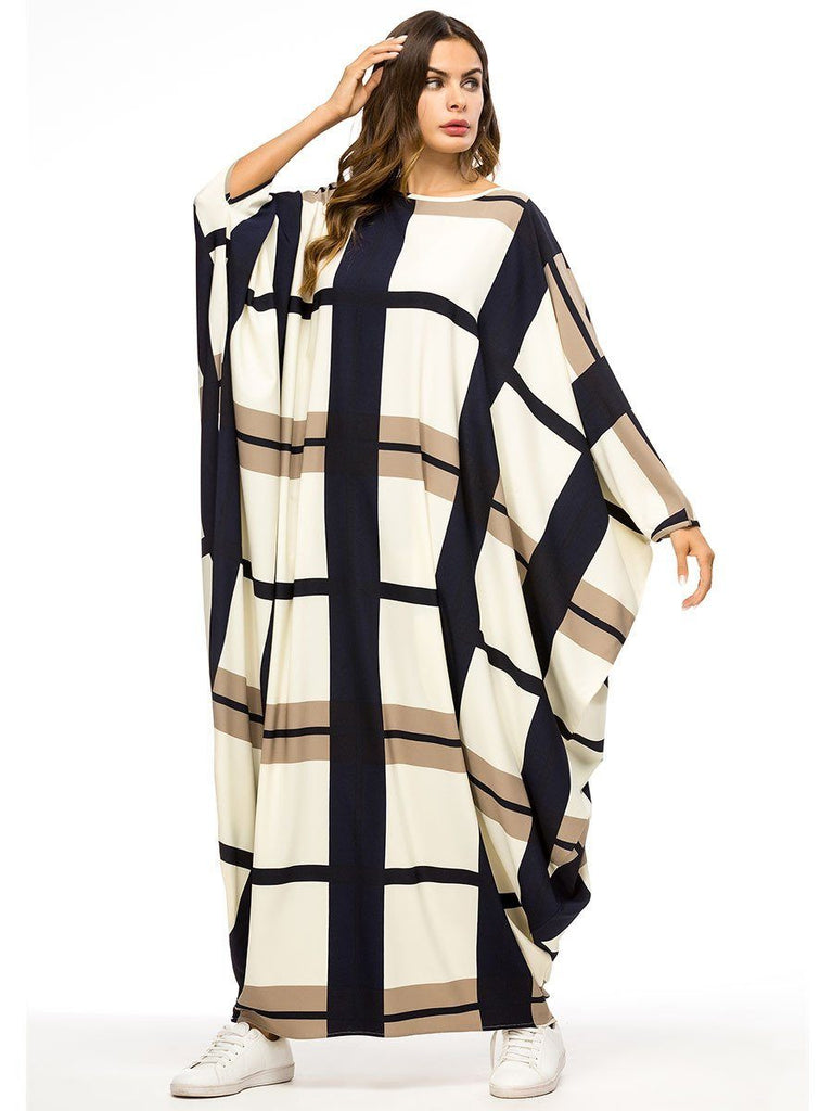 grid round neck batwing sleeve one size beige dress
